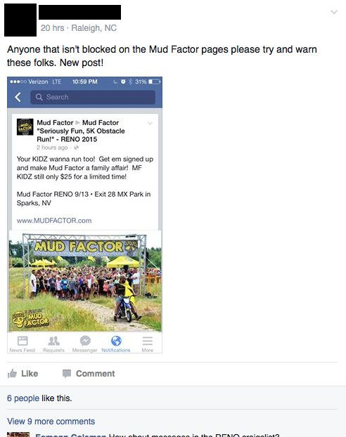 Facebook Post about Mud Factor