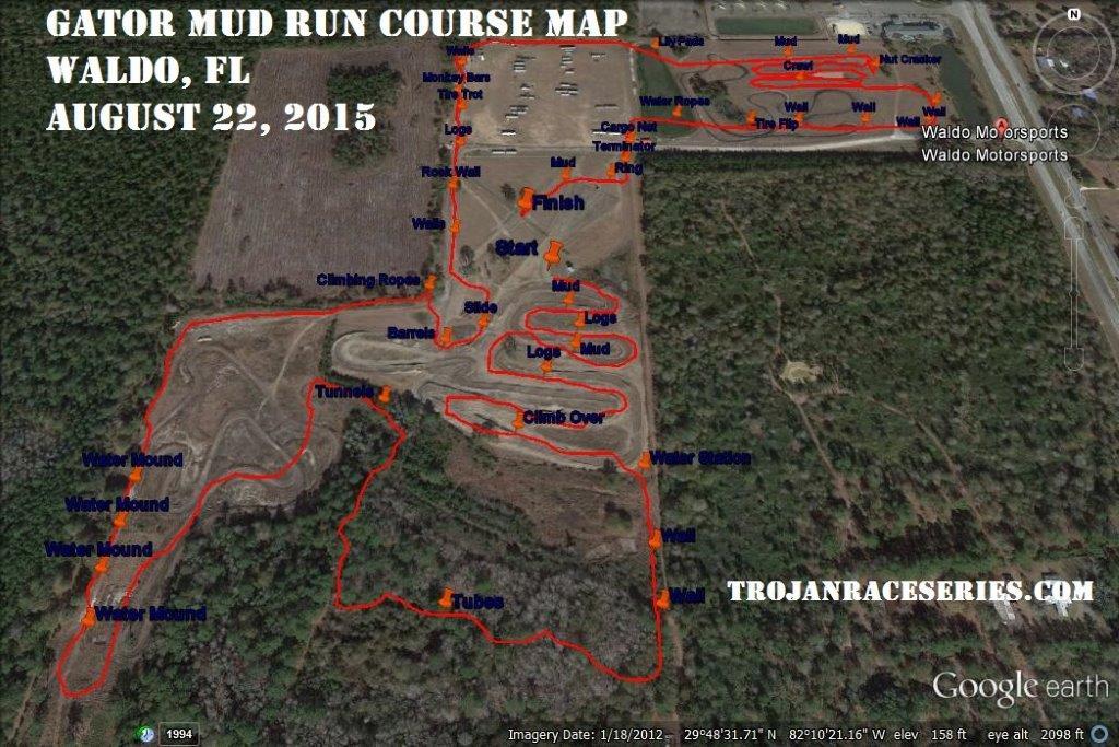 Waldo Mud Run race course map