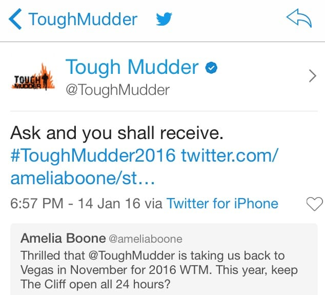 Tough Mudder Cliff Tweet